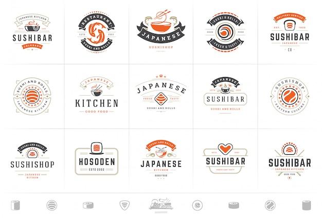 Los logotipos e insignias del restaurante de sushi establecen comida japonesa con rollos de salmón de sushi ilustración vectorial
