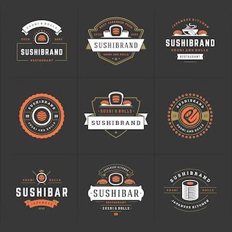 Los logotipos e insignias del restaurante de sushi establecen comida japonesa.
