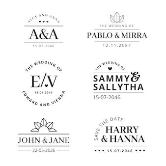 Logotipos elegantes de boda