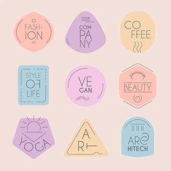 Logotipos de estilo minimalista en colores pastel.