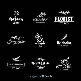 Logotipos de floristería de boda negro