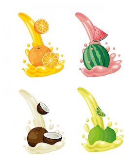 Logotipos de frutas tropicales