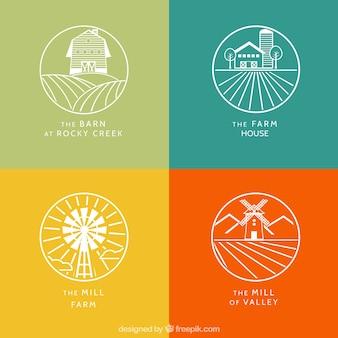 Logotipos de granja blancos con contorno