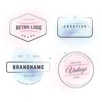 Logotipos de hipster con salpicaduras de acuarela