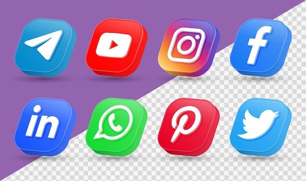 Logotipos de iconos de redes sociales 3d en estilo moderno icono cuadrado de redes de facebook instagram