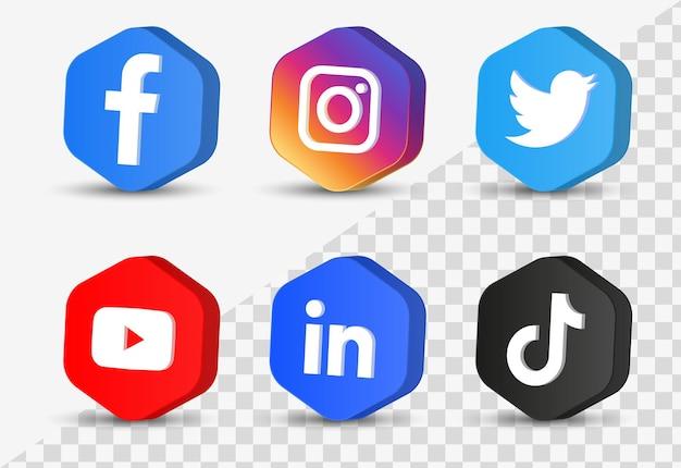 Logotipos de iconos de redes sociales en botones modernos