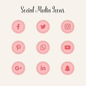 Logotipos de los iconos de redes sociales de color rosa
