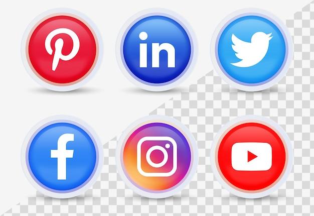 Logotipos de iconos de redes sociales populares en botones modernos 3d