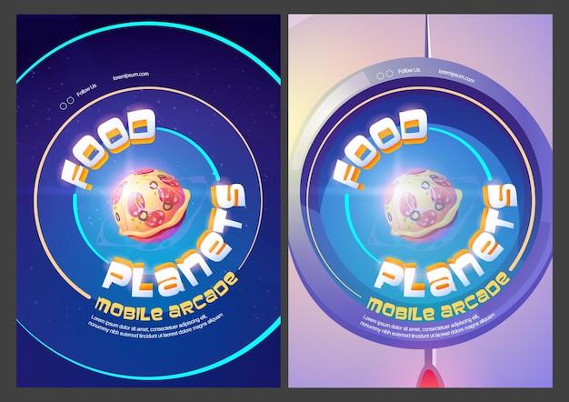 Logotipos de juegos de arcade móviles de planetas de alimentos con esfera de pizza