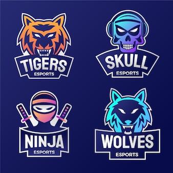 Logotipos de juegos de deportes electrónicos degradados
