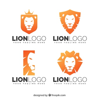 Logotipos león naranjas