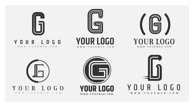 Logotipos de letra g de diseño plano