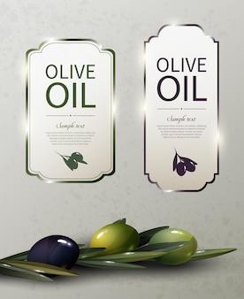 Logotipos de marcas brillantes de aceite de oliva con aceitunas verdes y negras orgánicas naturales