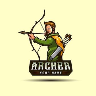 Los logotipos de mascotas o personajes de la caza de arqueros en el bosque, se pueden utilizar como plantilla de logotipo de jugador de juego de tirador deportivo e