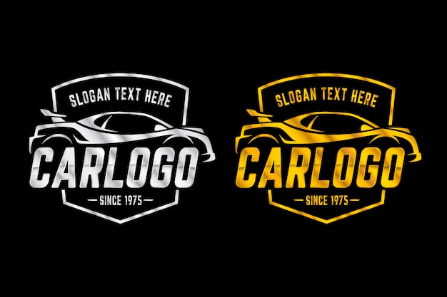 Logotipos metálicos en dos versiones.