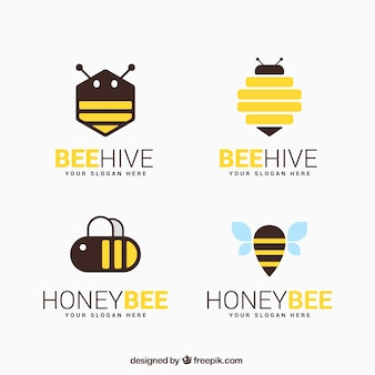Logotipos de miel planos