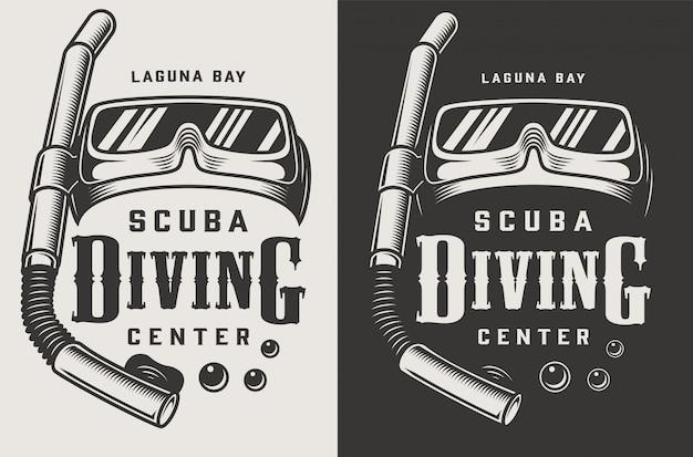 Logotipos monocromáticos de centros de buceo vintage