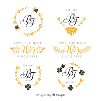 Logotipos de monograma de boda amarillo