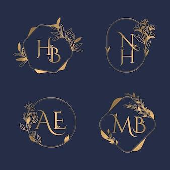 Logotipos de monograma de boda caligráficos dorados