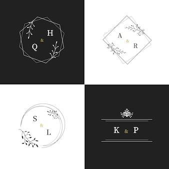 Logotipos de monograma de boda caligráficos