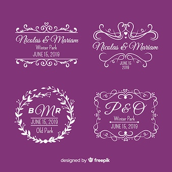 Logotipos de monograma de boda púrpura