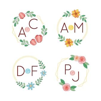 Logotipos de monogramas de boda coloridos