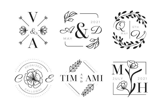 Logotipos de monogramas de boda dibujados a mano