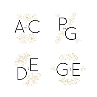 Logotipos de monogramas de boda floral