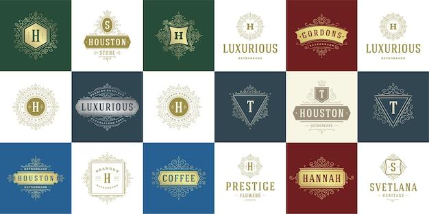 Los logotipos y monogramas de la vendimia establecen elegantes florituras line art elegantes ornamentos plantilla de estilo victoriano.