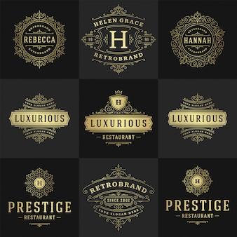 Los logotipos y monogramas vintage establecen adornos de arte de línea elegante florece
