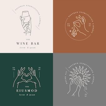 Logotipos o emblemas de plantilla lineal: manos en diferentes gestos.
