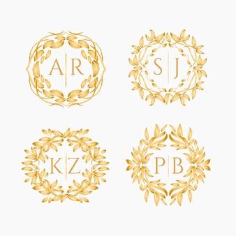 Logotipos de oro de monograma de boda caligráfico