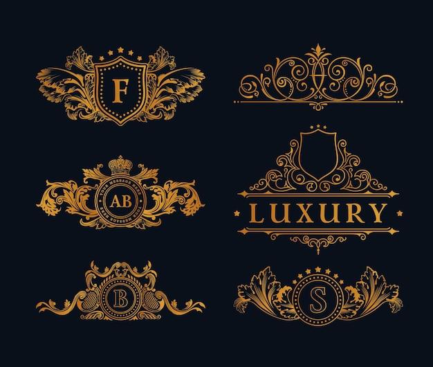Logotipos de oro vintage y emblemas de lujo.