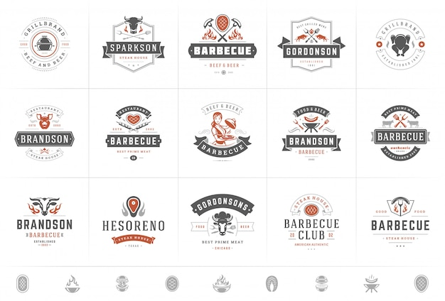 Logotipos de parrilla y barbacoa establecen ilustración de vector steak house o insignias de menú de restaurante con comida de barbacoa