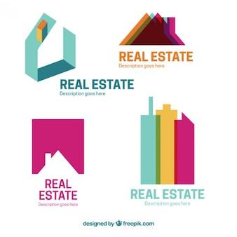 Logotipos planos de colores de inmobiliaria