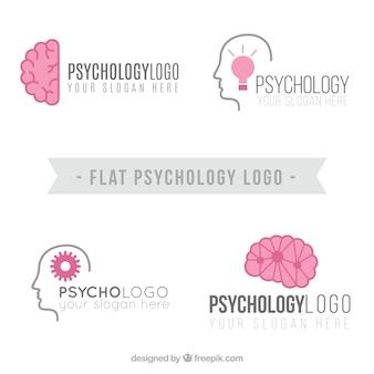 Logotipos de psicología planos con detalles en rosa
