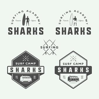 Logotipos de surf y viajes.