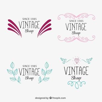Logotipos tienda vintage ornamentales