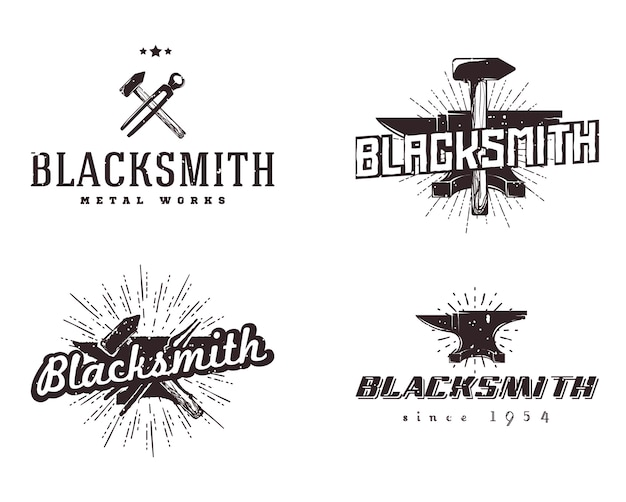 Logotipos de trabajos en metal. conjunto de insignias de herrería y metalistería. estilo vintage, colores monocromos.