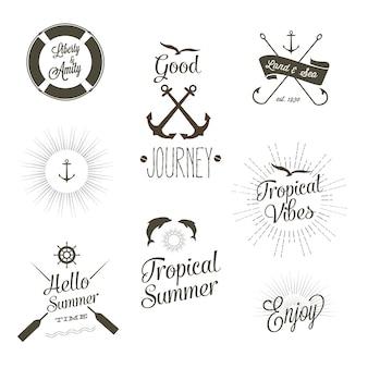 Logotipos tropicales de verano