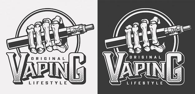 Logotipos de vapeo vintage con letras y ilustración de vape de mano