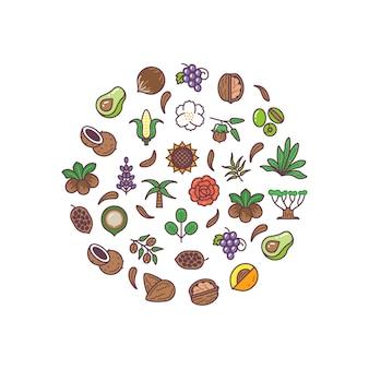 Logotipos de vector lineal de aceite de bio cosméticos saludables concepto de vector redondo