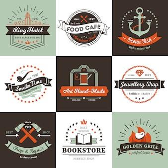 Logotipos vintage de tiendas hotel y concepto de diseño de cafetería con cintas de rayos