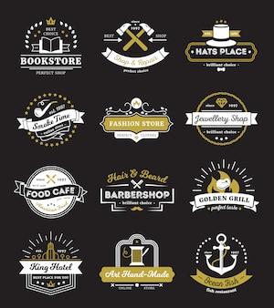 Logotipos vintage de tiendas de hotel, restaurante y cafetería con elementos de diseño.