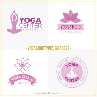 Logotipos de yoga dibujados a mano de color rosa