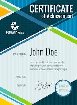 Logro, diseño de certificado de vector de premio.