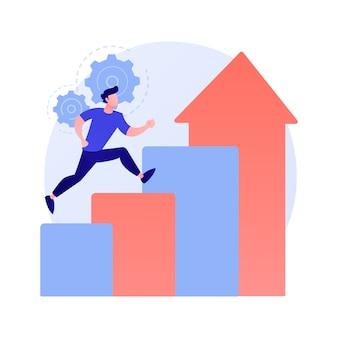 Logro de éxito. aspiraciones profesionales, promoción laboral, crecimiento personal. trabajador motivado, empresario volando en cohete, motivación y determinación ilustración del concepto