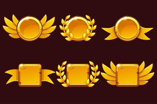 Logro del juego de recepción de plantillas. ilustración con viejos premios de oro.