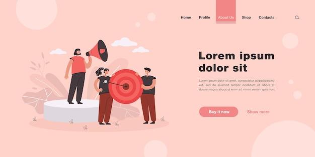 Logro del objetivo del equipo empresarial. página de destino en estilo plano