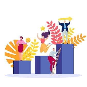 Logro de objetivos comerciales, ilustración. gente de éxito en el escenario de dibujos animados, lugar, podio con trofeo de competencia.